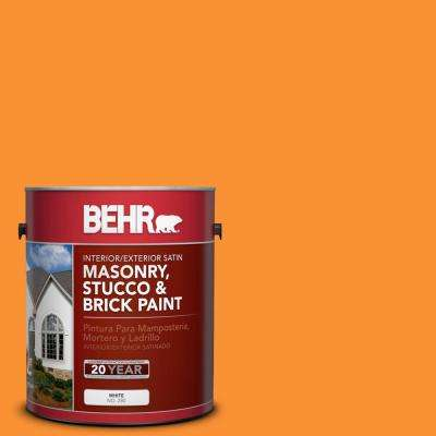 1 gal. #P240-7 Joyful Orange Satin Interior/Exterior Masonry, Stucco and Brick Paint