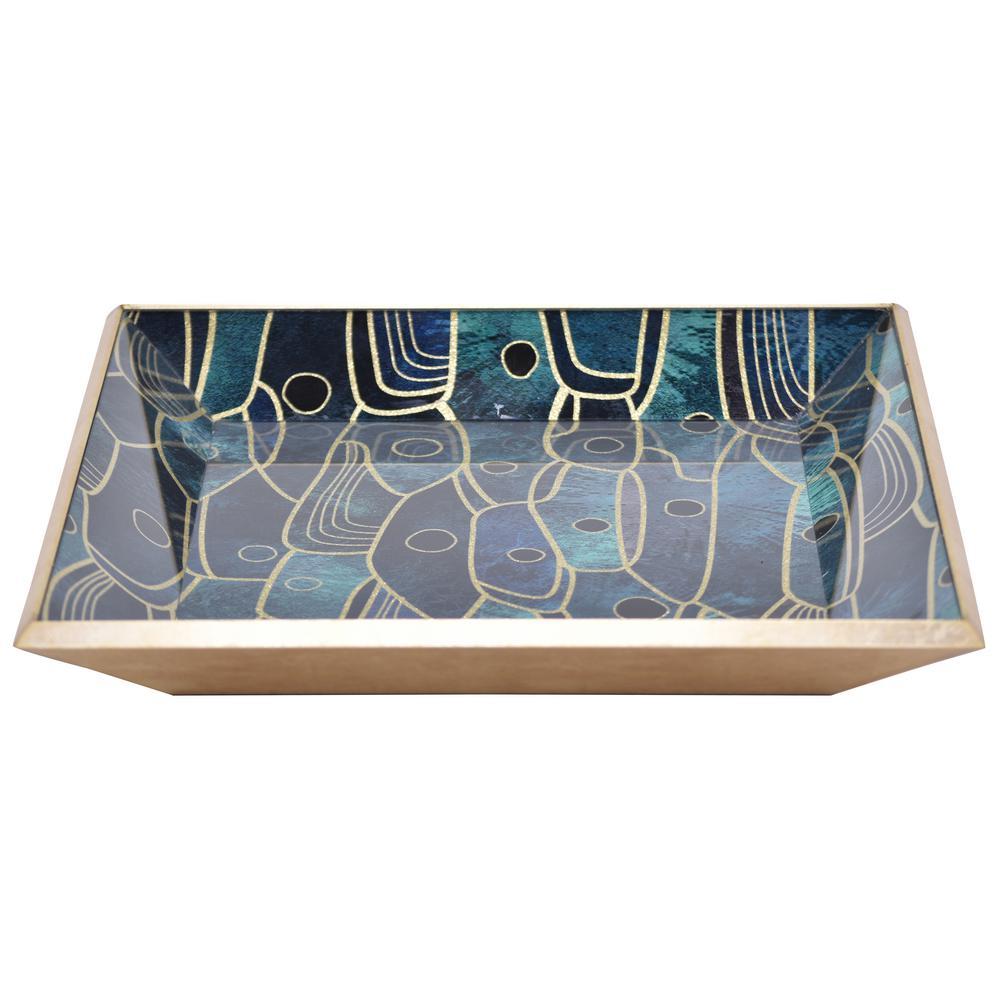 2 in. Multicolored Glass Rectangle Decorative Tray