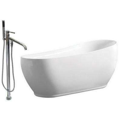 Modern 5.9 ft. Acrylic Flatbottom Bathtub in White and Freestanding Faucet in Chrome