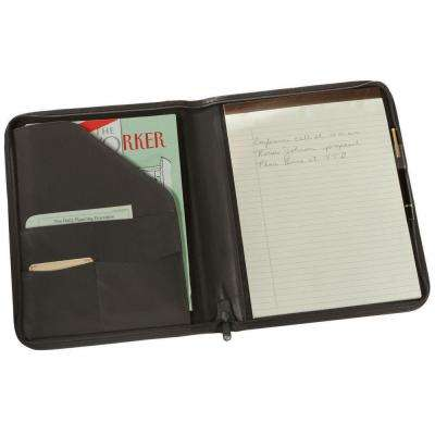 Executive Zippered Writing Portfolio Organizer in Genuine Leather