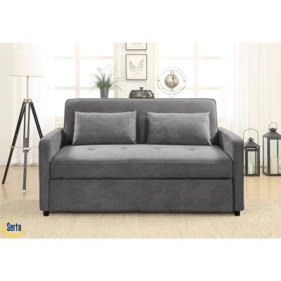 Coral Serta Convertible to Queen Bed Grey Multifunctional Sofa
