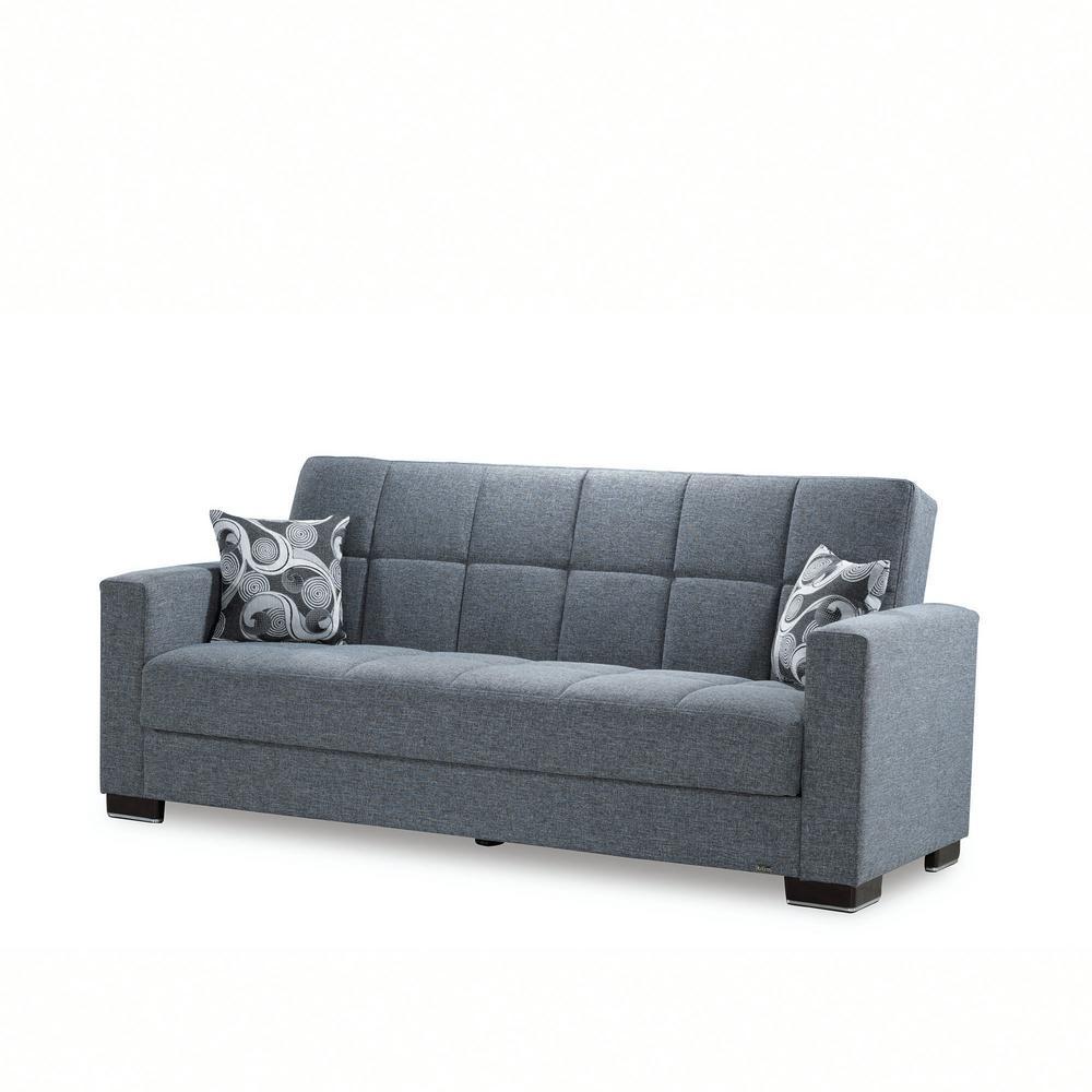 Gray Fabric Upholstery Sofa Sleeper Bed