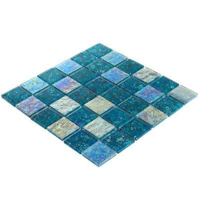 Marina Iridescent Aqua Squares 11 3/4 in. x 11 3/4 in. 8 mm Polished Glass Wall Tile (0.96  sq. ft.)