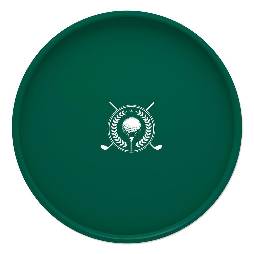 Kraftware Kasualware Golf 14 inch Round Serving Tray in Green by Kraftware