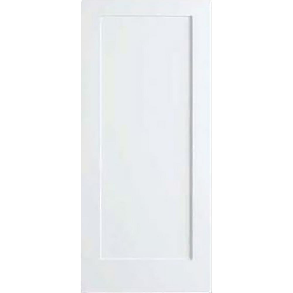 32 in. x 80 in. White 1-Panel Shaker Solid Core Wood Interior Door Slab
