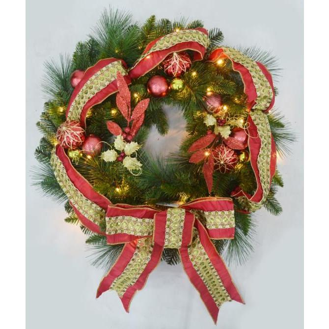 30 in. Pre-Lit Artificial Wreath with Red Jeweled Ribbon