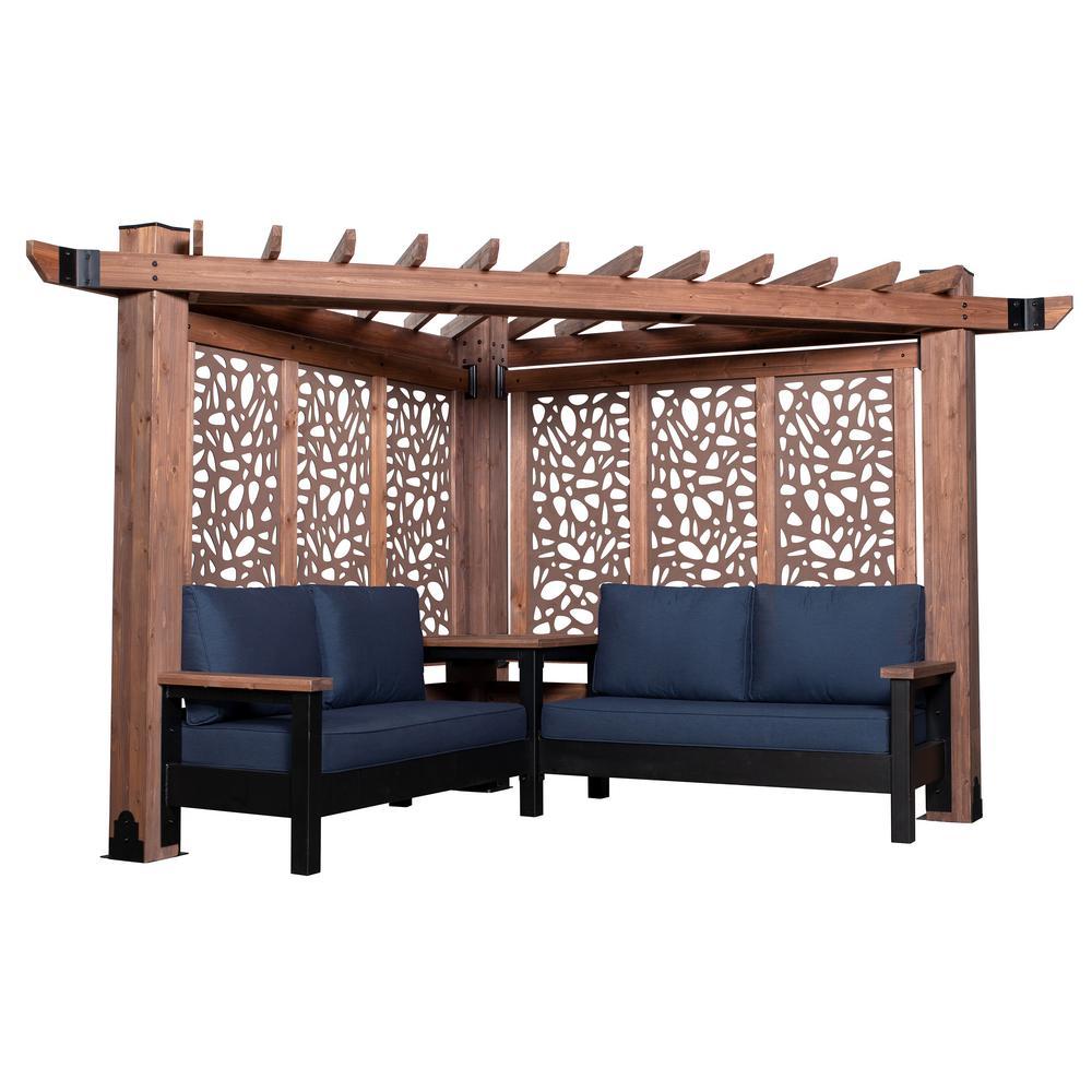 Fireside Cabana Pergola 3-Piece Cedar Patio Conversation Deep Seating Set w/ Sunbrella Indigo Cushions and Pebble Panels
