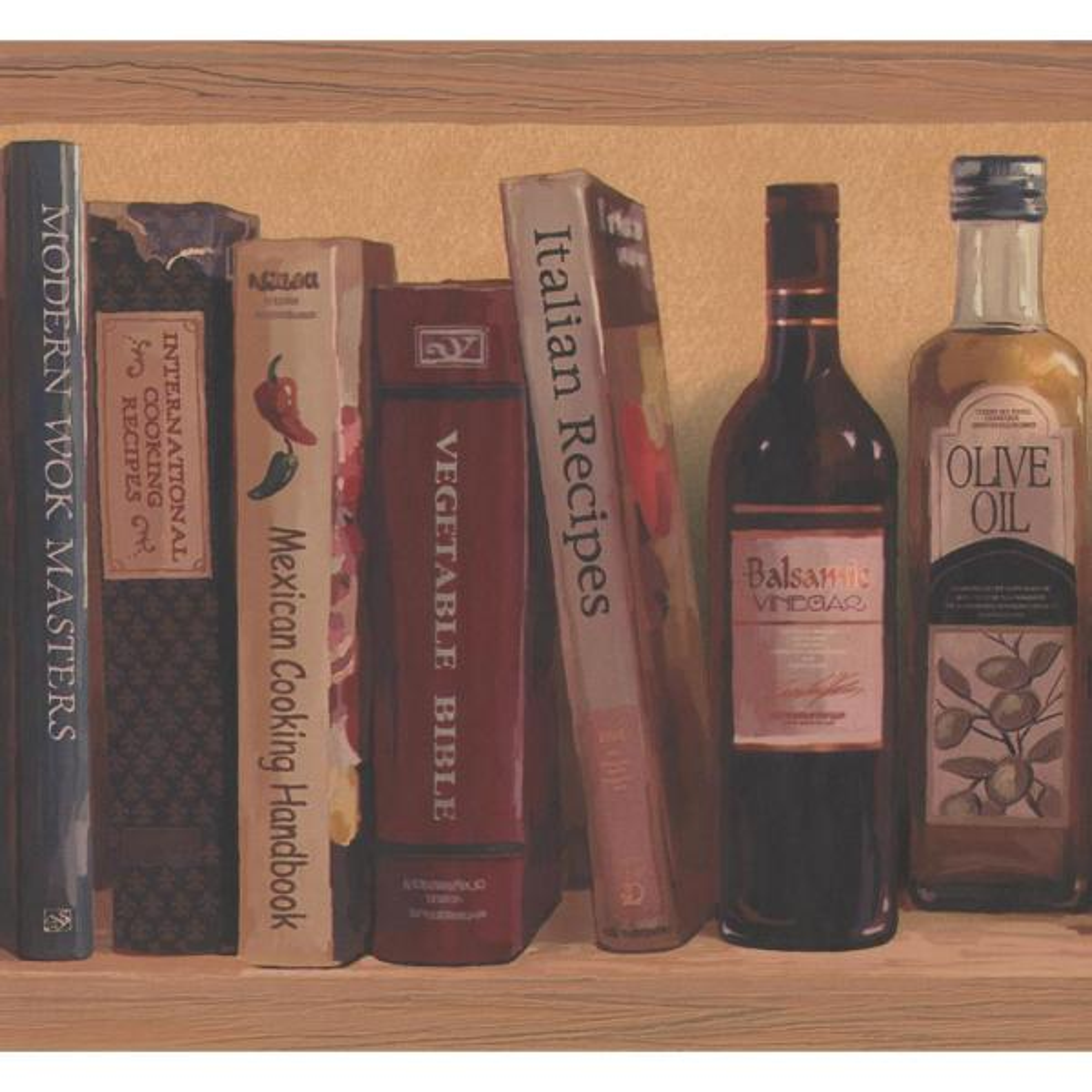 Wooden Shelf Recipe Books Olive Oil Candy Boxes Merigold Orange Prepasted Wallpaper Border
