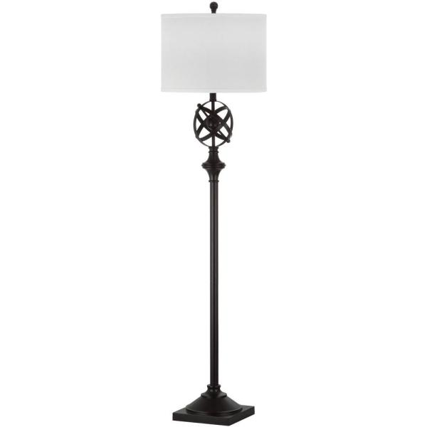 Floor Lamp 59.75 in Metal Base Nickel Finish with White Cotton Drum Shade