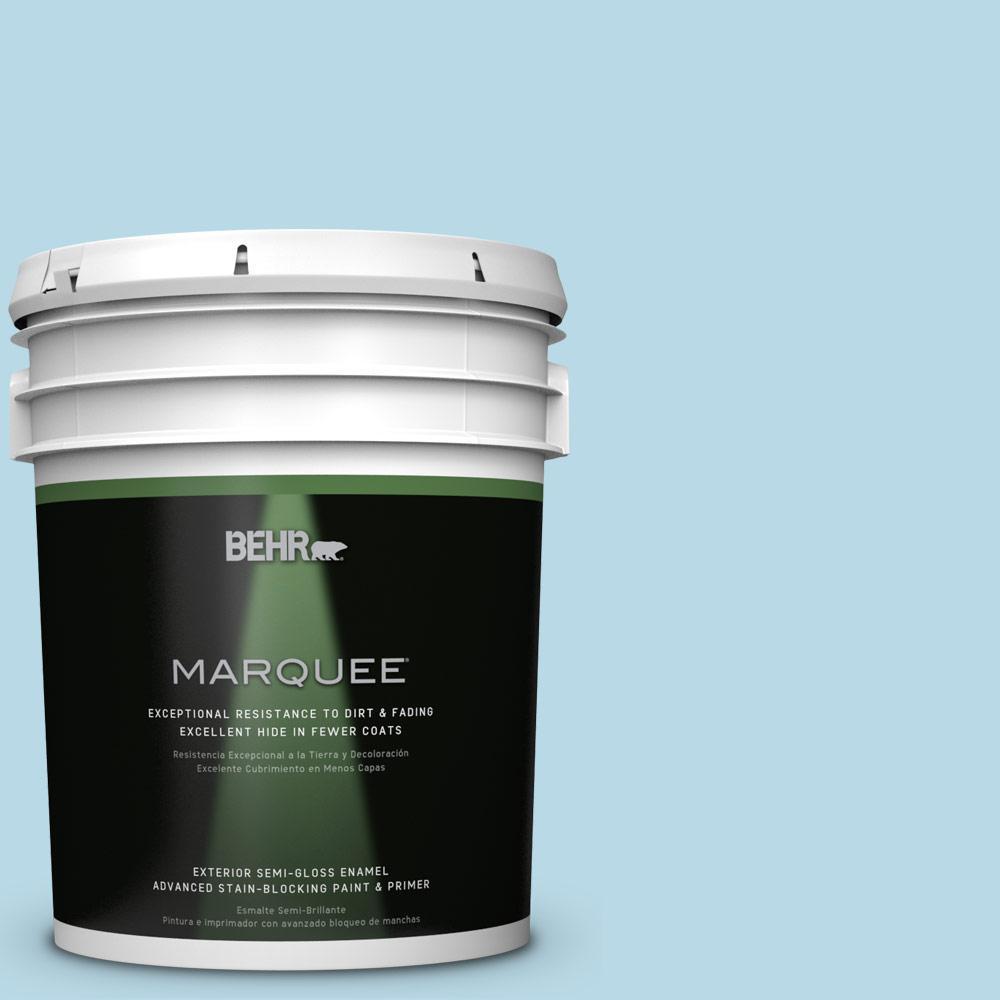 BEHR MARQUEE 5-gal. #M490-1 Breezy Blue Semi-Gloss Enamel Exterior Paint