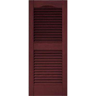 15 in. x 36 in. Louvered Vinyl Exterior Shutters Pair in #078 Wineberry