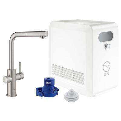Blue Professional Starter Kit Single-Handle Beverage Faucet with Pull-Out Spray in SuperSteel Infinity