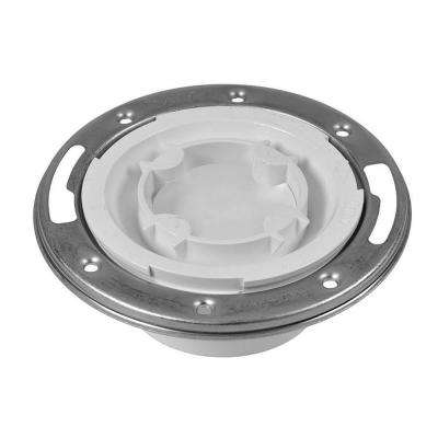 Oatey PVC Spigot Closed Toilet Flange with Pre-Installed Testing Cap and Metal Ring