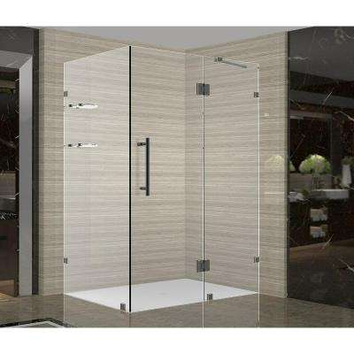 Avalux GS 42 in. x 36 in. x 72 in. Completely Frameless Shower Enclosure with Glass Shelves in Oil Rubbed Bronze