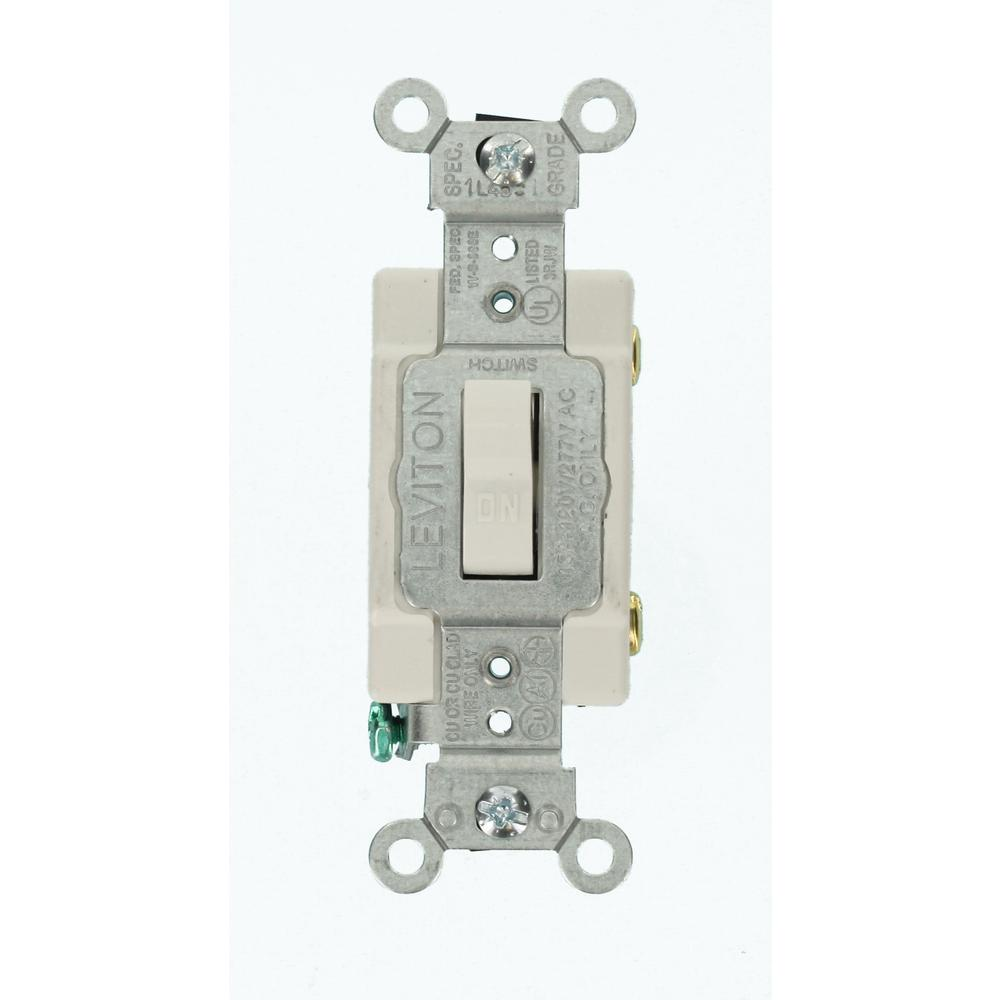Leviton 15 Amp Commercial Grade Single Pole Toggle Switch, White ...