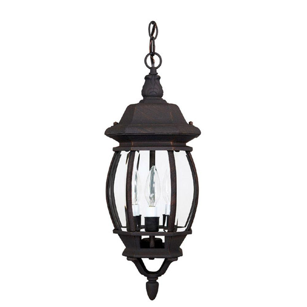 Filament Design 3-Light Outdoor Rust Clear Glass Hanging Fixture-DISCONTINUED