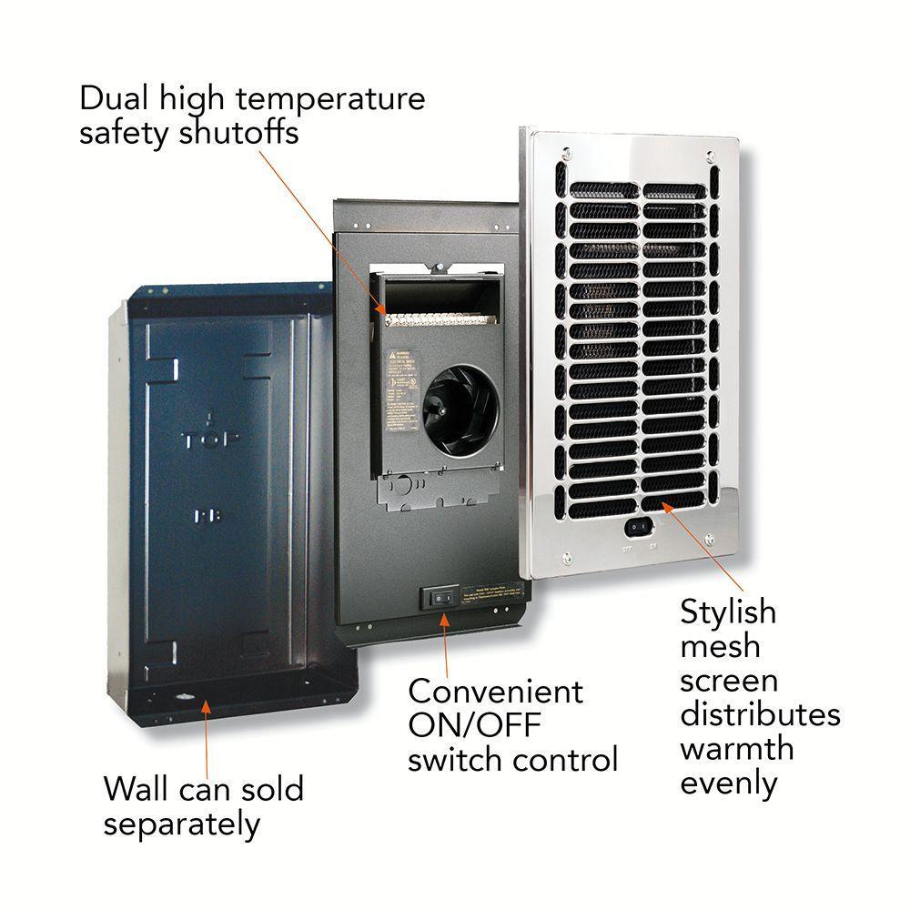 Electric Wall Heaters Bathroom: In-Wall Bath Heater 1000-Watt 120-Volt Electric Fan-Forced