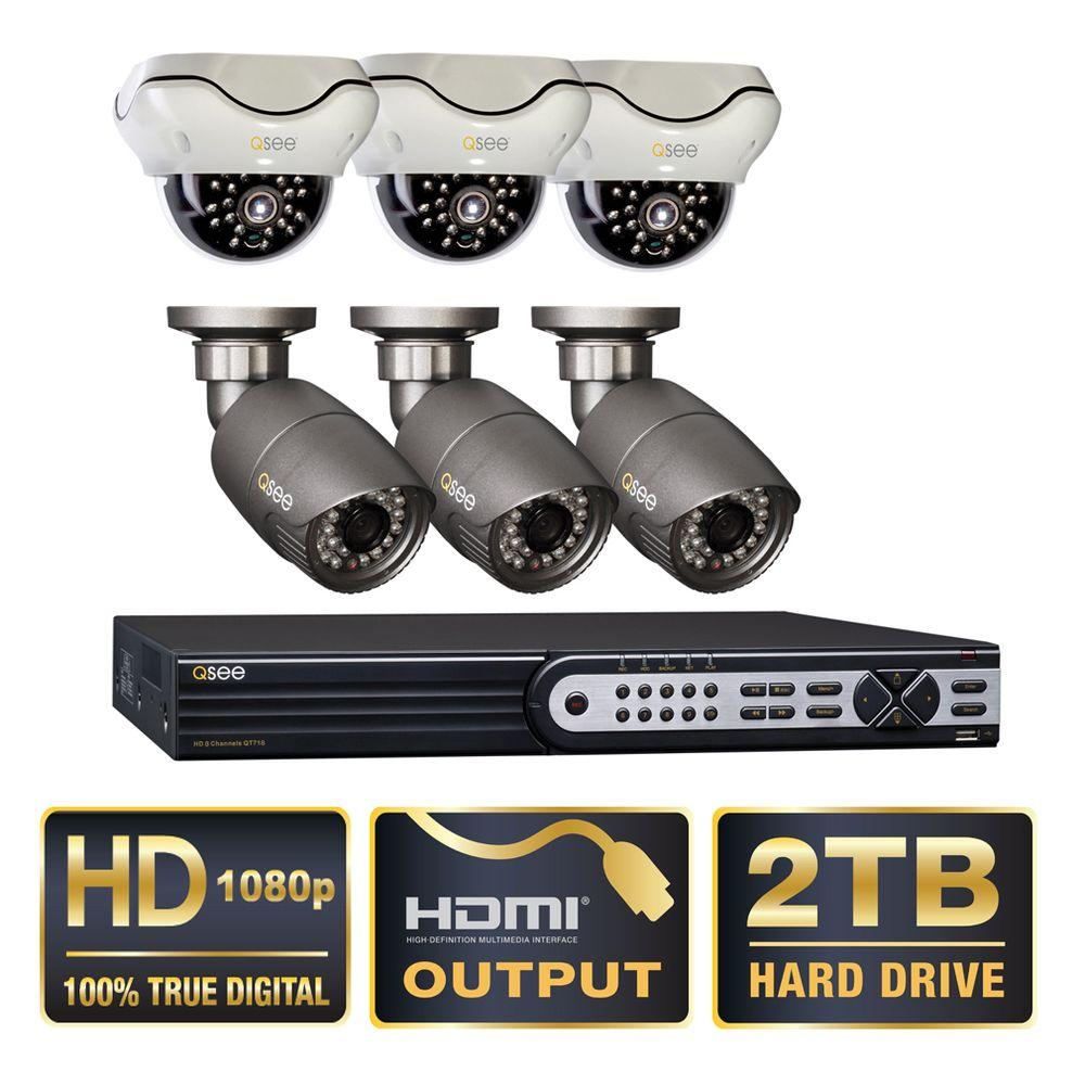 QSEE Q-SEE Platinum Series 8-Channel SDI 2TB Video Surveillance System with 3 Bullet and 3 Dome 1080p Cameras