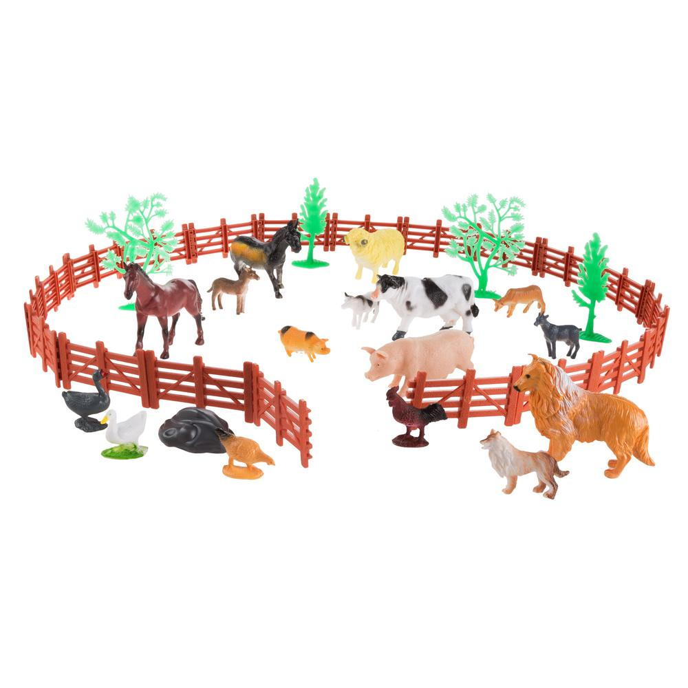 Hey Play Toy Farm Animal And Barnyard Accessories Set