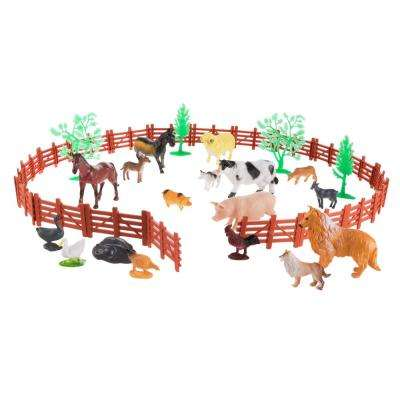 Toy Farm Animal and Barnyard Accessories Set