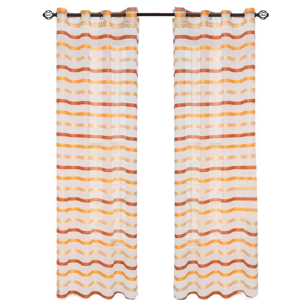 Orange Sonya Grommet Curtain Panel, 84 in. Length