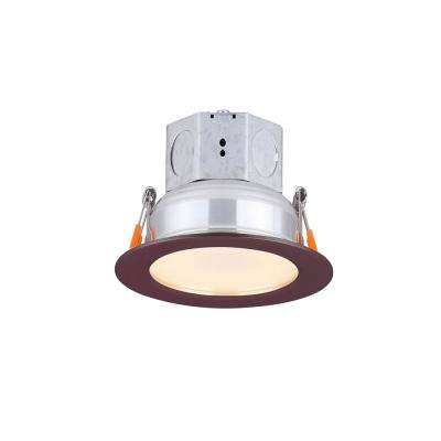 Round Slim Disk 4.25 in. Bronze New Construction Recessed Integrated LED Trim Kit