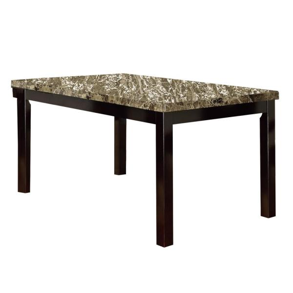 1-Piece Brown Faux Marble and Pine Wood Dining Table