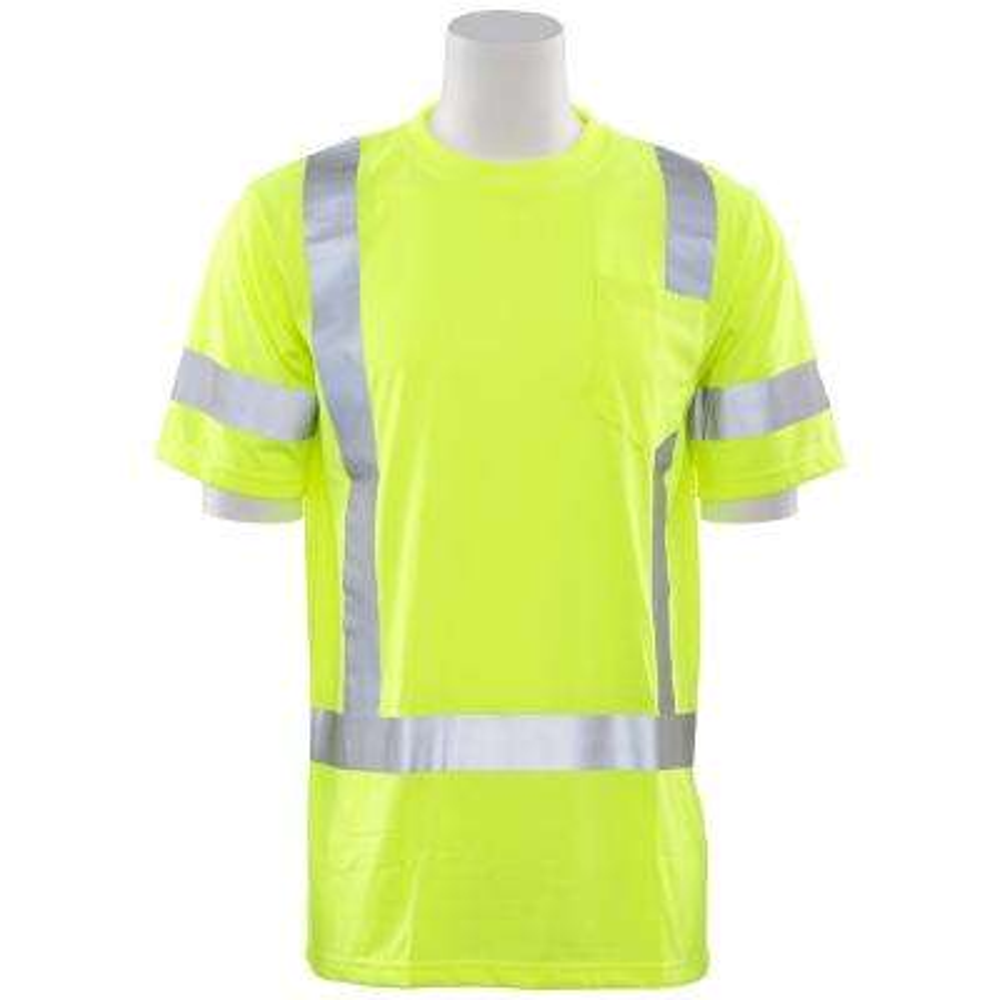 9801S 2X Class 3 Short Sleeve Hi Viz Lime Unisex Poly Jersey T-Shirt