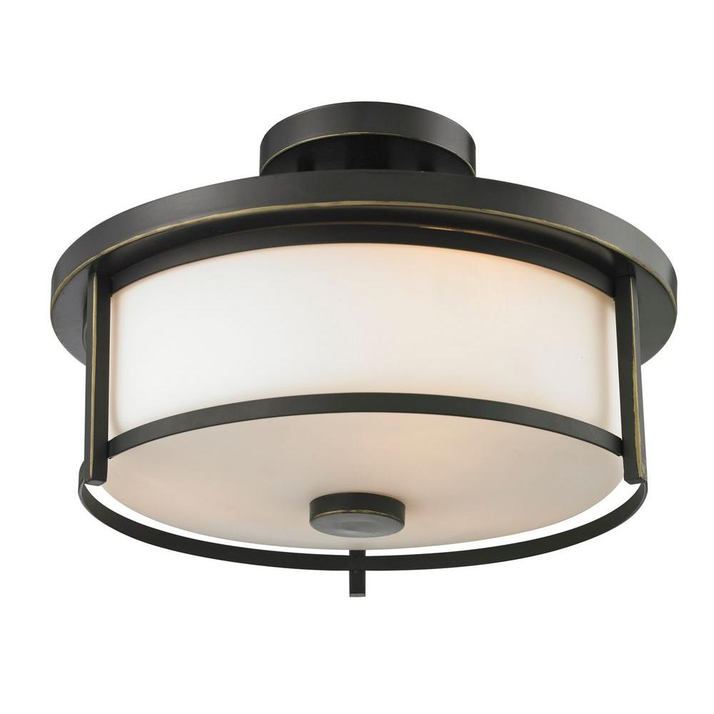 Lacy 2-Light Dark Bronze Modern Semi-Flush Mount with Matte Opal Round