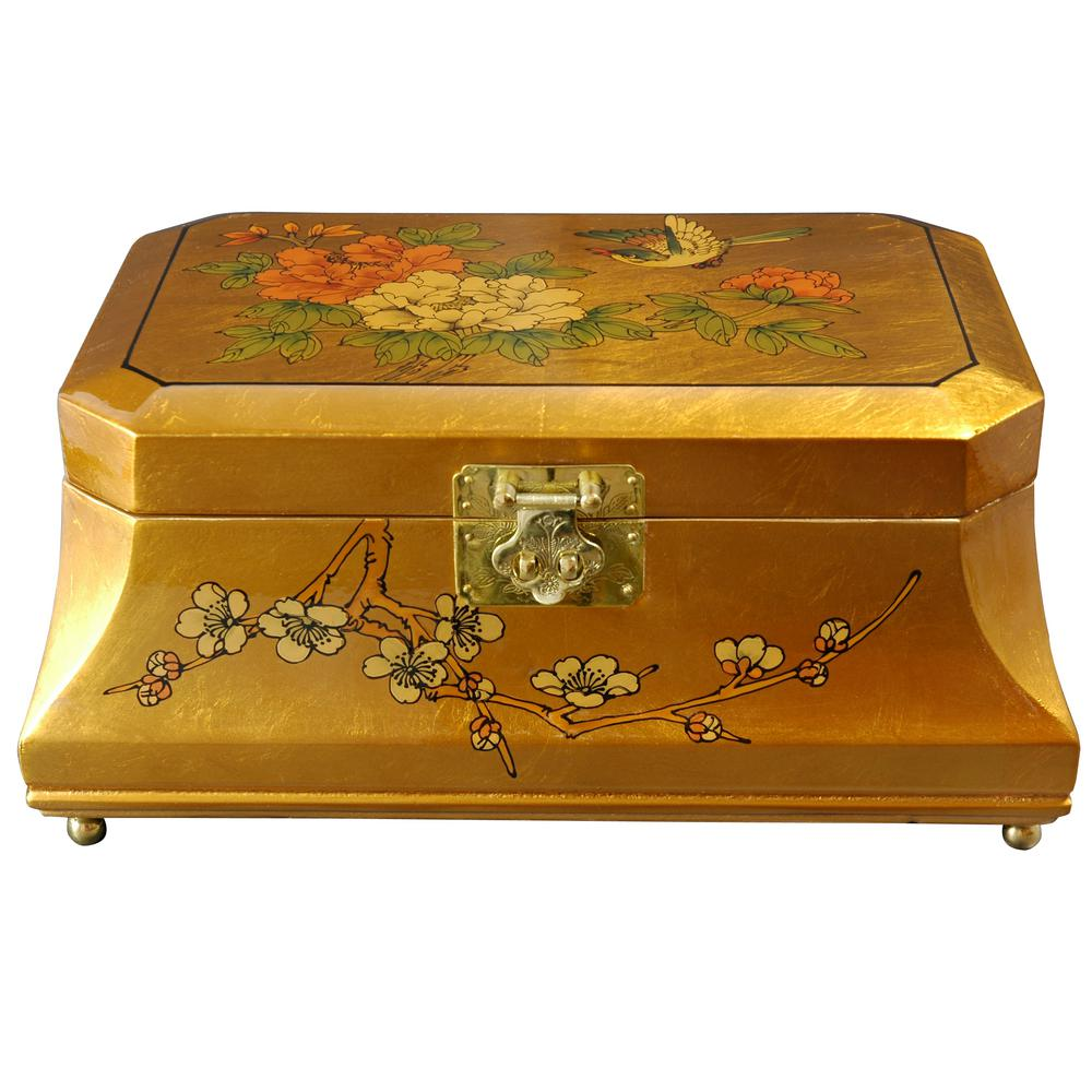 Oriental Furniture Adorlee Lacquer Jewelry Box In Gold