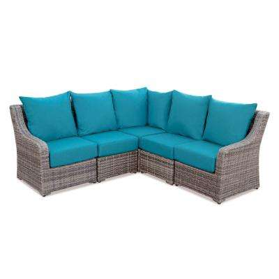 Cherry Hill 5-Piece Patio Seating Set with Spectrum-Peacock Cushions
