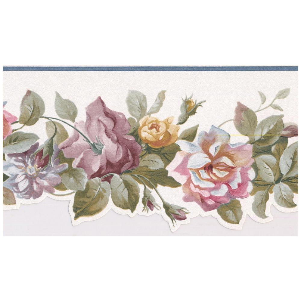 Norwall Pink Mauve Blooming Roses Scalloped Prepasted Wallpaper
