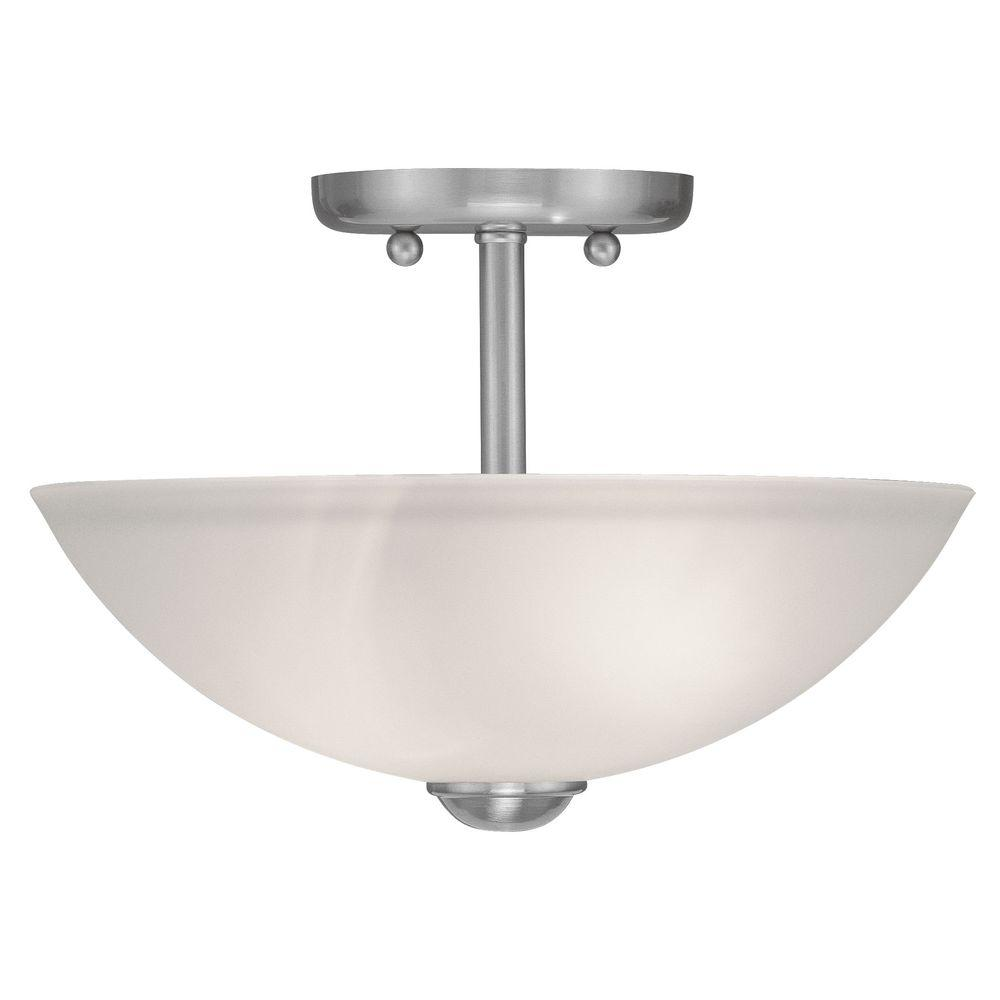 Livex Lighting 2-Light Brushed Nickel Flushmount with Satin Glass Shade