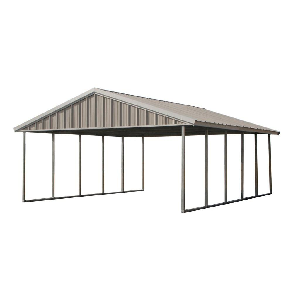PWS Premium Canopy 20 ft. x 24 ft. Ash Grey and Polar White All Steel Carport Structure with Durable Galvanized Frame
