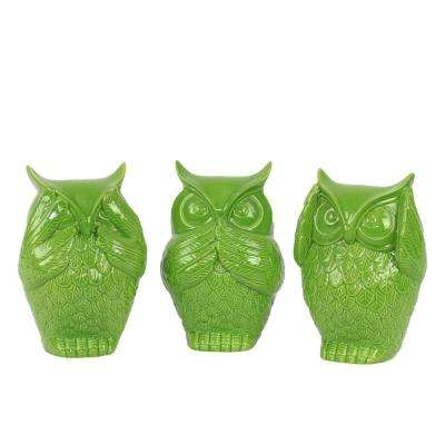 6.5 in. H Owl Decorative Figurine in Green Gloss Finish