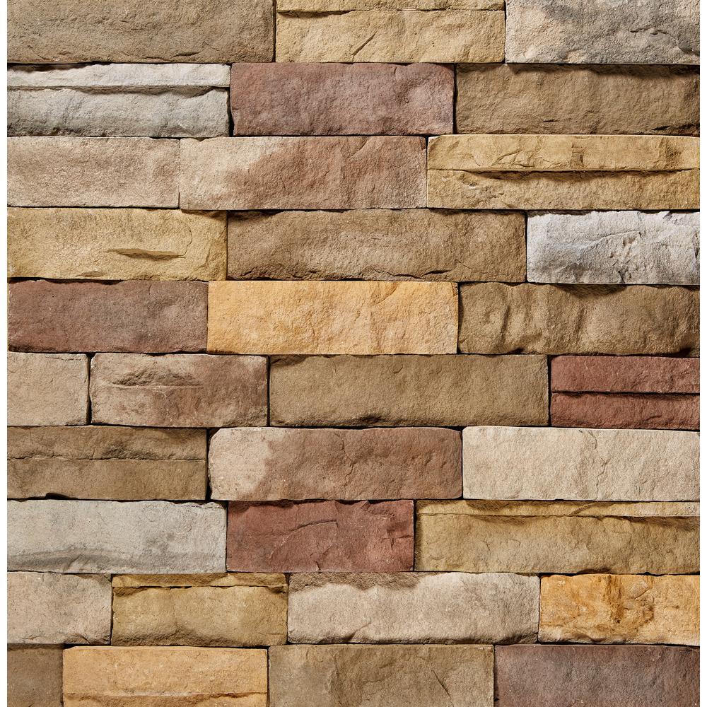 ClipStone 9 in. x 4 in. Manufactured Stone Ledgestone Poinset Corner Siding (4 ft. Pack), Multicolored & Cream
