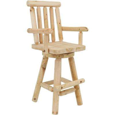 Rustic 29.5 in. Unfinished Wood Log Style Bar Stool