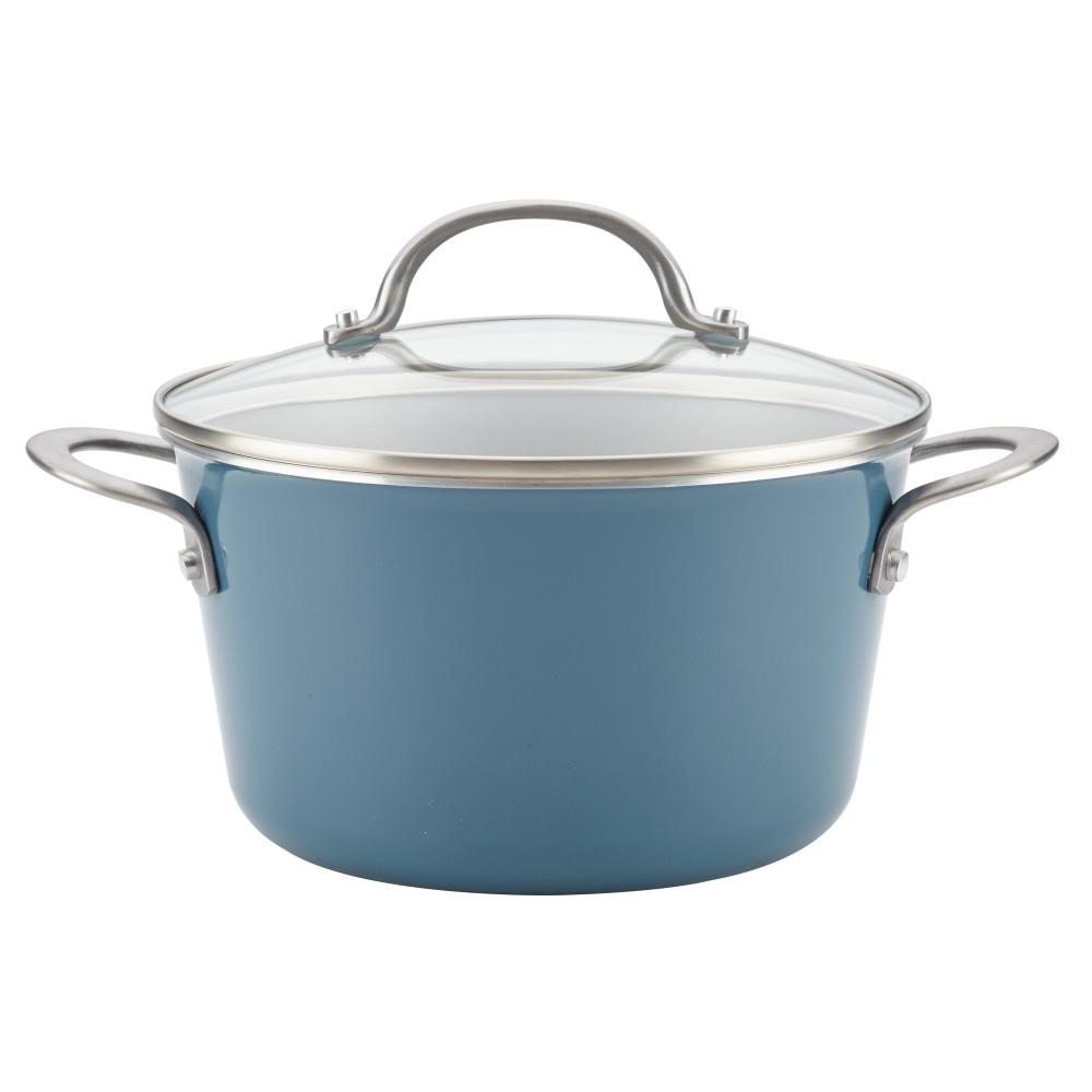 Ayesha Curry Home Collection 4.5 Qt. Twilight Teal Porcelain Enamel ...