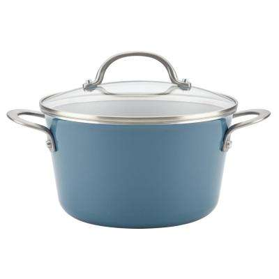Home Collection 4.5 Qt. Twilight Teal Porcelain Enamel Non-Stick Covered Saucepot