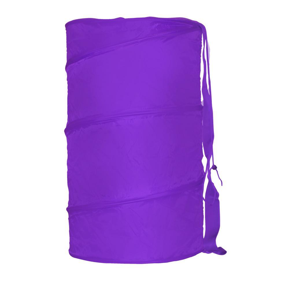 Sunbeam Purple Collapsible Nylon Barrel Laundry Hamper