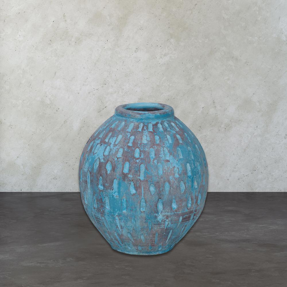 Rustic Blu V 16 in. Distressed Decorative Vase in Light Blue With Teardrop Pattern