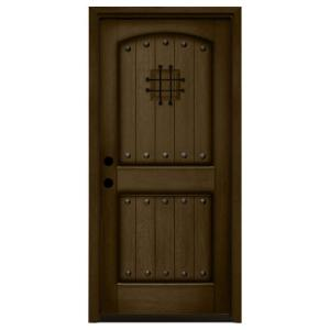 Steves & Sons 36 in. x 80 in. Rustic 2-Panel Speakeasy Stained ...