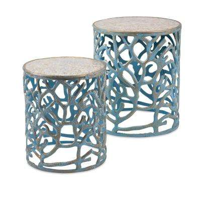 Coral Mother of Pearl Teal Tables (Set of 2)