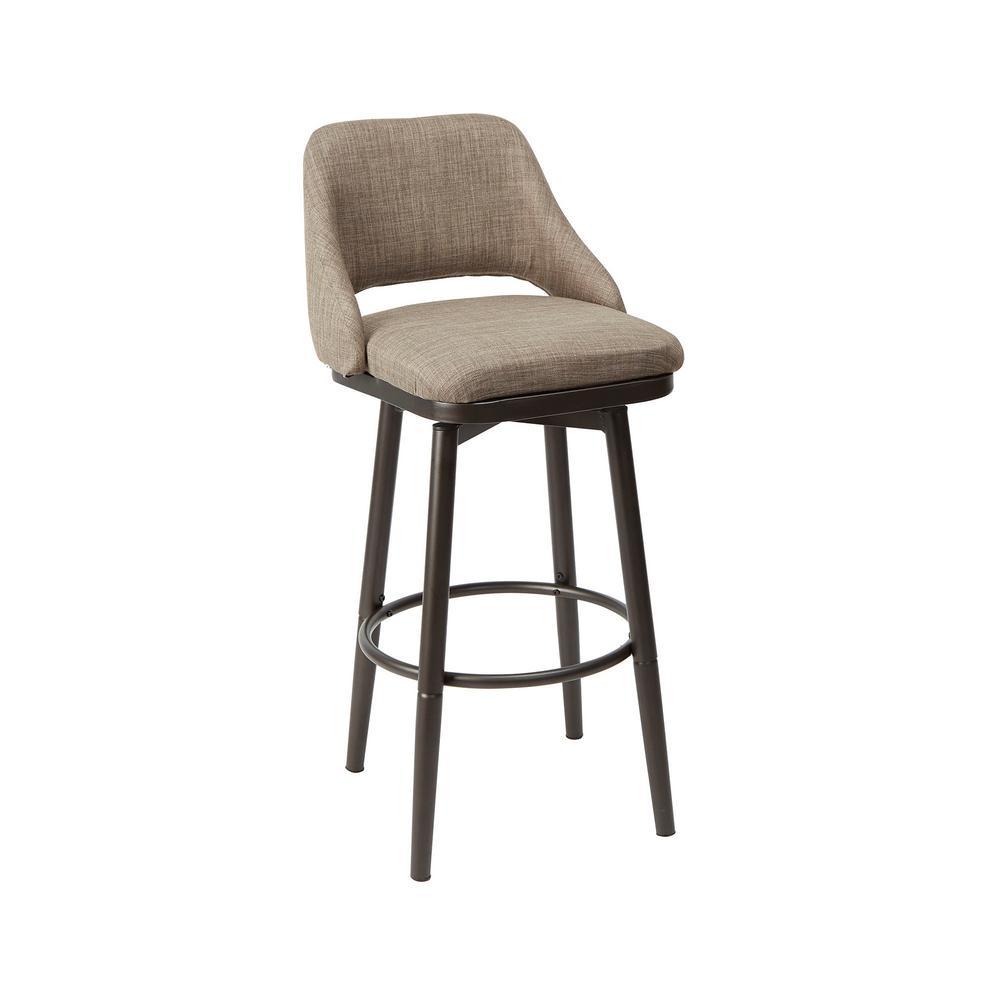 Ari Adjustable 37 in. - 39 in. Brown Upholstered Barstool