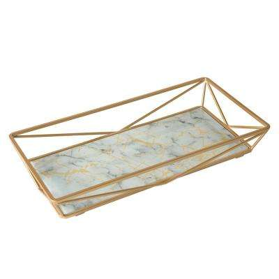 Marble Agate Design Geometric Vanity Tray in Gold