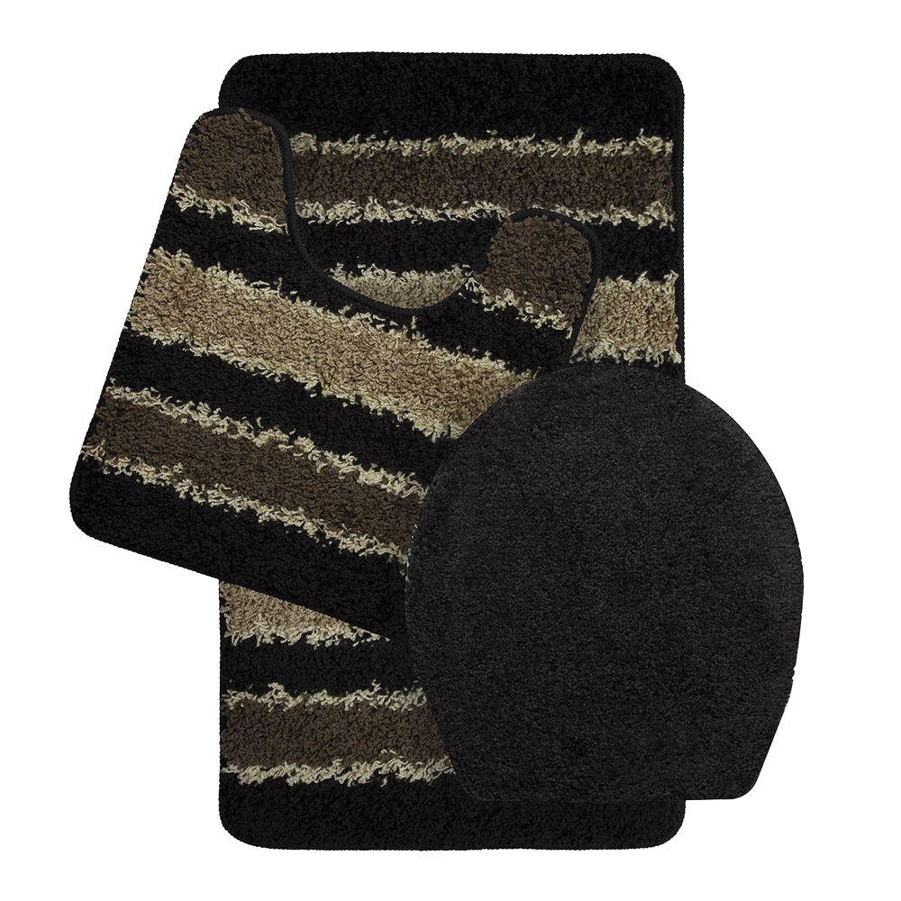 Attirant Bath Frieze Deliso Olefin Stripe Non Slip Black 3 Piece Bath Rug Set