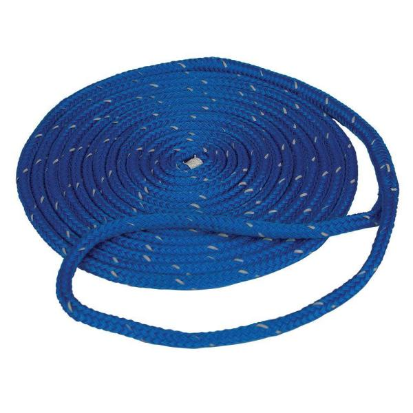 1/2 in. x 25 ft. Reflective Dock Line Double Braid Nylon Rope, Blue