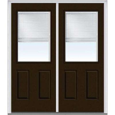 60 in. x 80 in. Internal Blinds Right-Hand Inswing 1/2-Lite 2-Panel Clear Painted Fiberglass Smooth Prehung Front Door