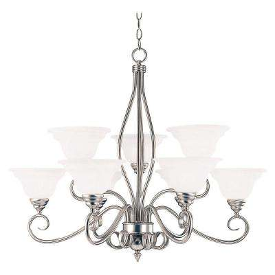 9-Light Pewter Chandelier with White Faux Alabaster Shade