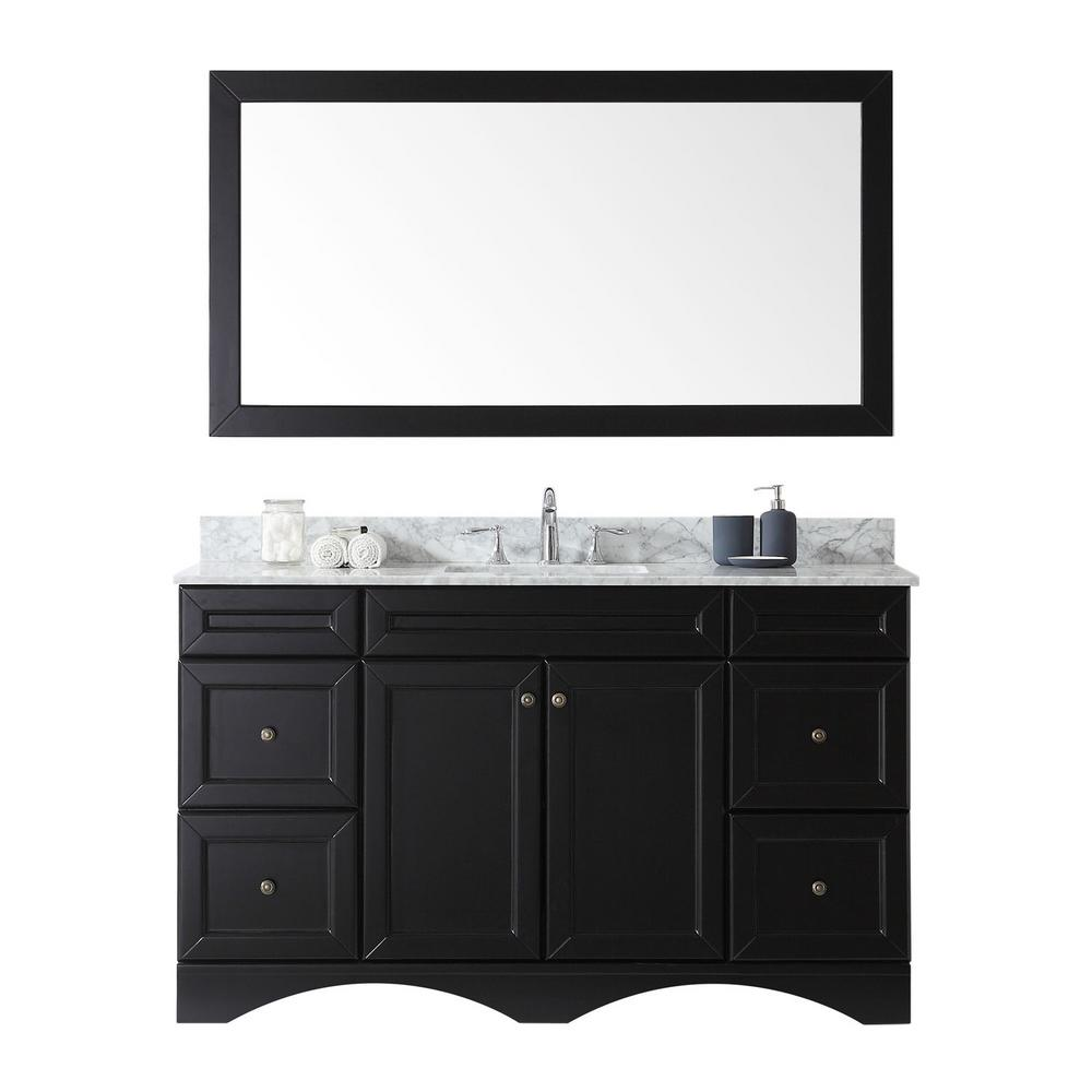 Virtu USA Talisa 60 in. W Bath Vanity in Espresso with Marble Vanity Top in White with Square Basin and Mirror and Faucet
